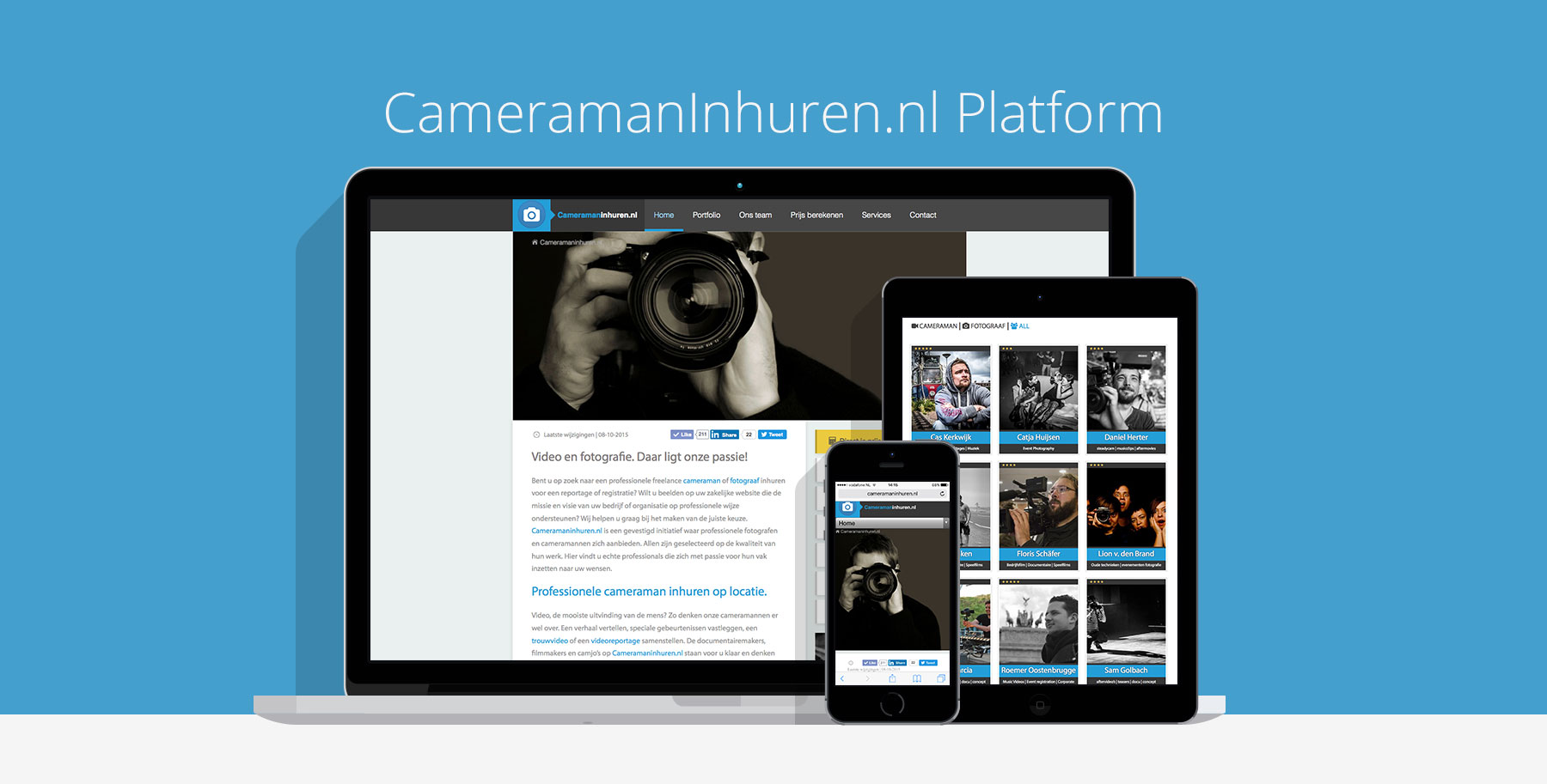 cameraman inhuren website design